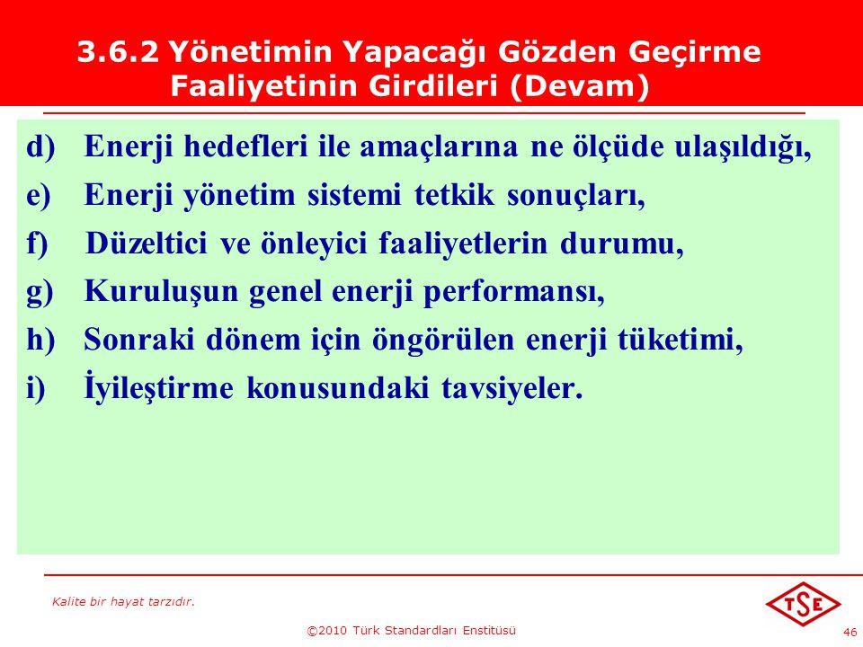 Kalite bir hayat tarzıdır. ©2010 Türk Standardları Enstitüsü 46 3.6.2 Yönetimin Yapacağı Gözden Geçirme Faaliyetinin Girdileri (Devam) d) Enerji hedef