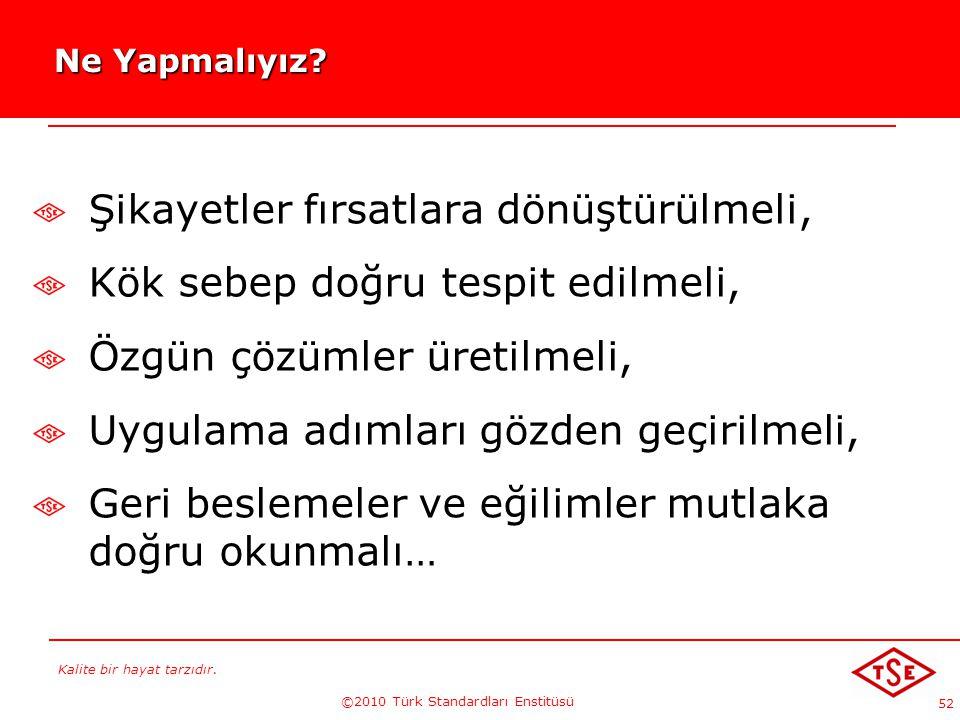 Kalite bir hayat tarzıdır. ©2010 Türk Standardları Enstitüsü 52 Ne Yapmalıyız? Ne Yapmalıyız? Şikayetler fırsatlara dönüştürülmeli, Kök sebep doğru te