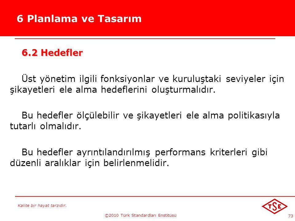 Kalite bir hayat tarzıdır. ©2010 Türk Standardları Enstitüsü 73 6 Planlama ve Tasarım 6.2 Hedefler Üst yönetim ilgili fonksiyonlar ve kuruluştaki sevi