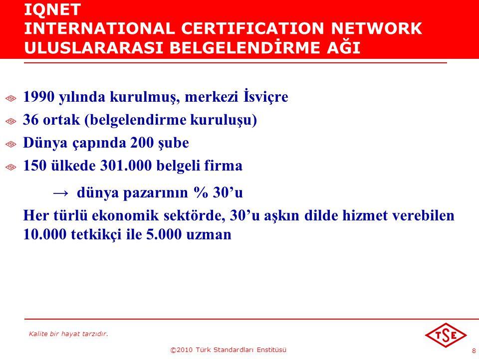 Kalite bir hayat tarzıdır. ©2010 Türk Standardları Enstitüsü 8 IQNET INTERNATIONAL CERTIFICATION NETWORK ULUSLARARASI BELGELENDİRME AĞI 1990 yılında k