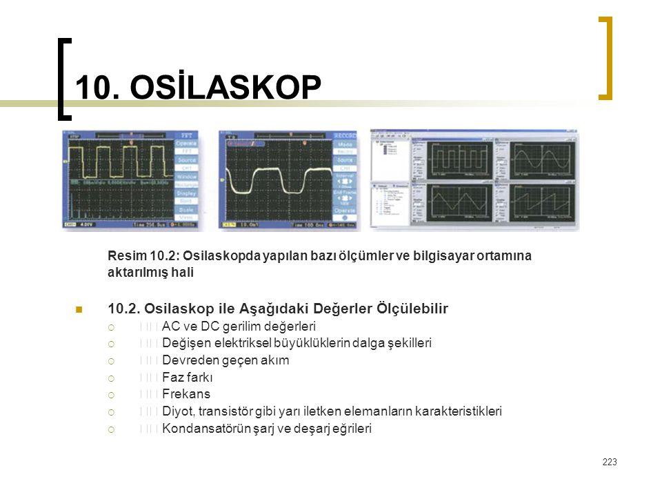 223 10. OSİLASKOP Resim 10.2: Osilaskopda yapılan bazı ölçümler ve bilgisayar ortamına aktarılmış hali 10.2. Osilaskop ile Aşağıdaki Değerler Ölçülebi