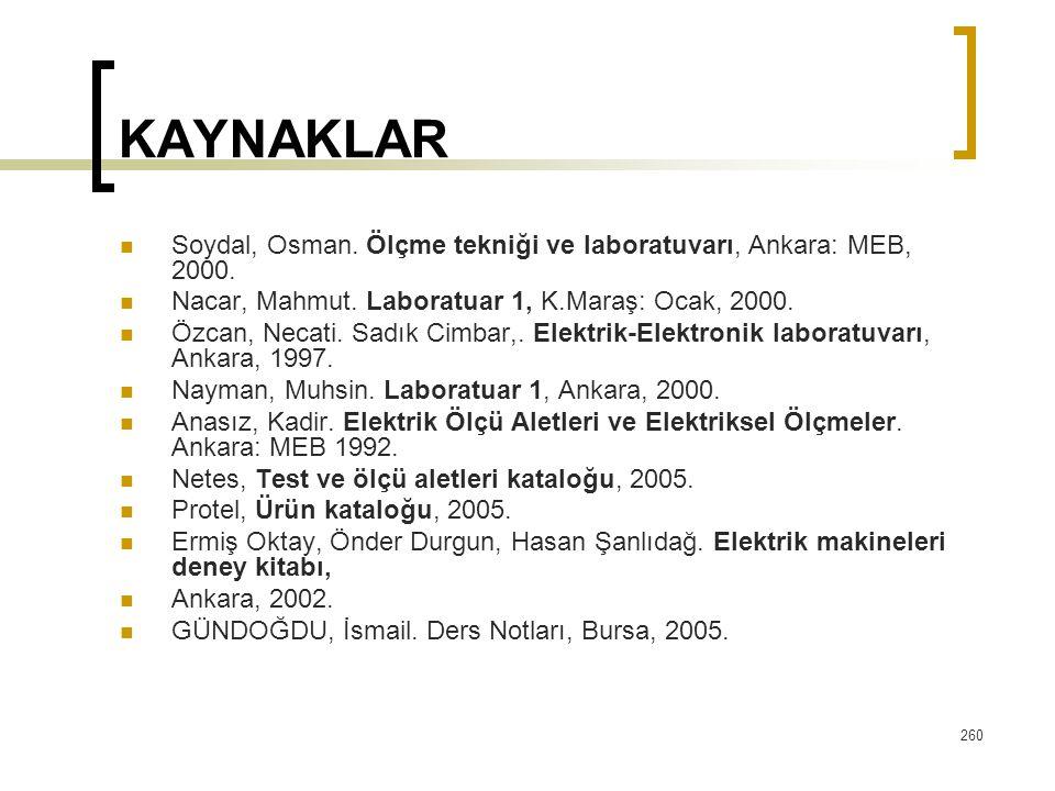 260 KAYNAKLAR Soydal, Osman. Ölçme tekniği ve laboratuvarı, Ankara: MEB, 2000. Nacar, Mahmut. Laboratuar 1, K.Maraş: Ocak, 2000. Özcan, Necati. Sadık