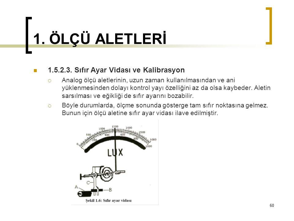 60 1. ÖLÇÜ ALETLERİ 1.5.2.3. Sıfır Ayar Vidası ve Kalibrasyon  Analog ölçü aletlerinin, uzun zaman kullanılmasından ve ani yüklenmesinden dolayı kont