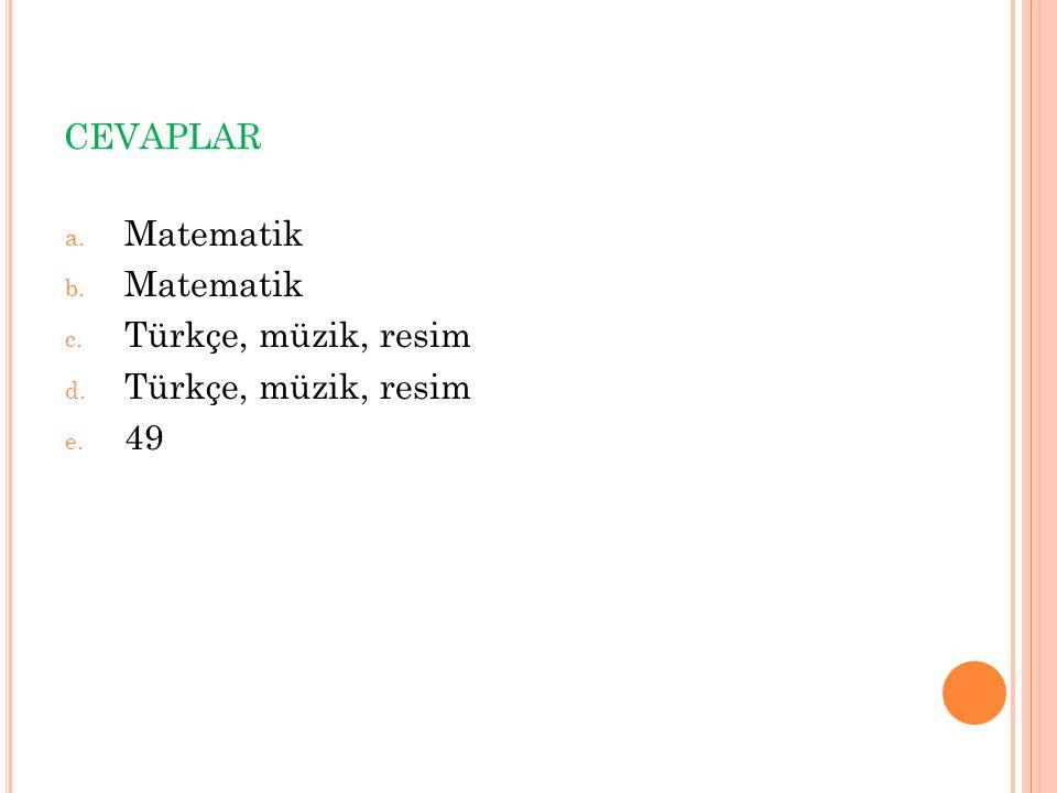 CEVAPLAR a. Matematik b. Matematik c. Türkçe, müzik, resim d. Türkçe, müzik, resim e. 49