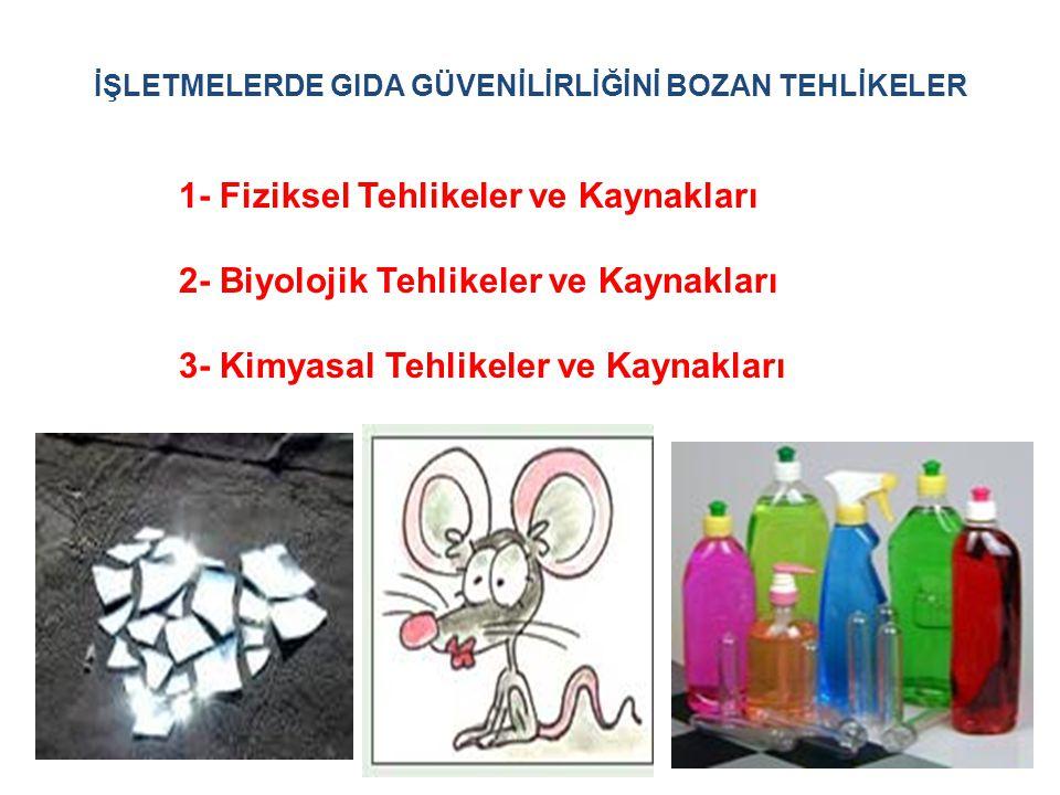 1- Fiziksel Tehlikeler ve Kaynakları 2- Biyolojik Tehlikeler ve Kaynakları 3- Kimyasal Tehlikeler ve Kaynakları İŞLETMELERDE GIDA GÜVENİLİRLİĞİNİ BOZA