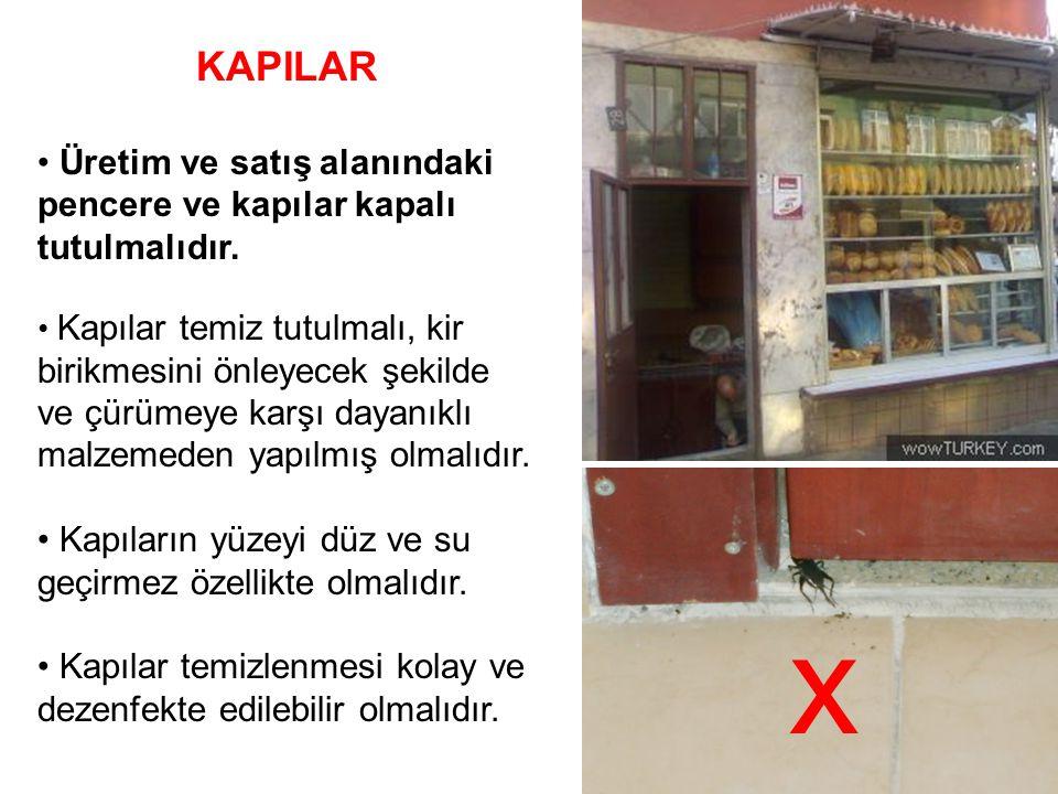 KAPILAR Üretim ve satış alanındaki pencere ve kapılar kapalı tutulmalıdır. Kapılar temiz tutulmalı, kir birikmesini önleyecek şekilde ve çürümeye karş