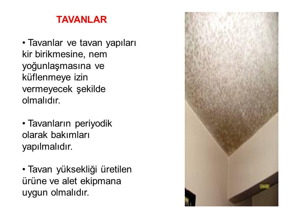 TAVANLAR Tavanlar ve tavan yapıları kir birikmesine, nem yoğunlaşmasına ve küflenmeye izin vermeyecek şekilde olmalıdır. Tavanların periyodik olarak b
