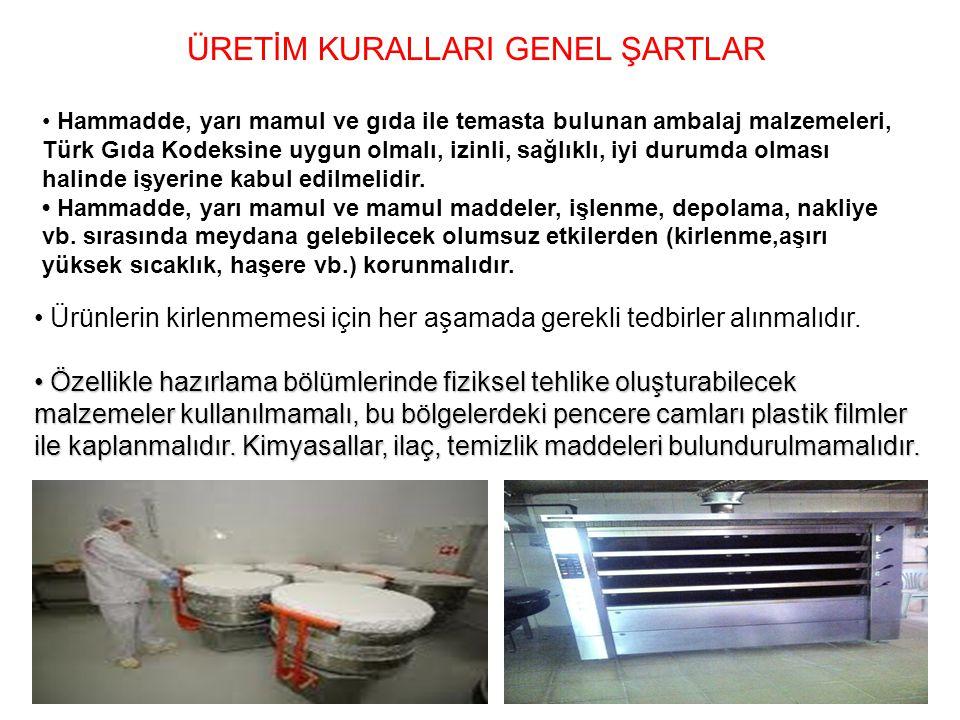 ÜRETİM KURALLARI GENEL ŞARTLAR Hammadde, yarı mamul ve gıda ile temasta bulunan ambalaj malzemeleri, Türk Gıda Kodeksine uygun olmalı, izinli, sağlıkl