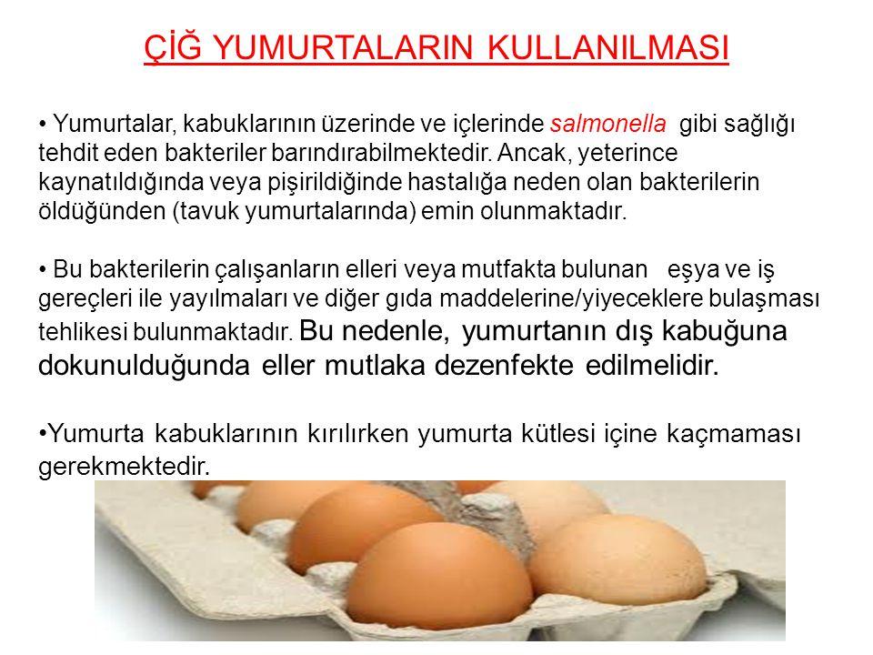 ÇİĞ YUMURTALARIN KULLANILMASI Yumurtalar, kabuklarının üzerinde ve içlerinde salmonella gibi sağlığı tehdit eden bakteriler barındırabilmektedir. Anca