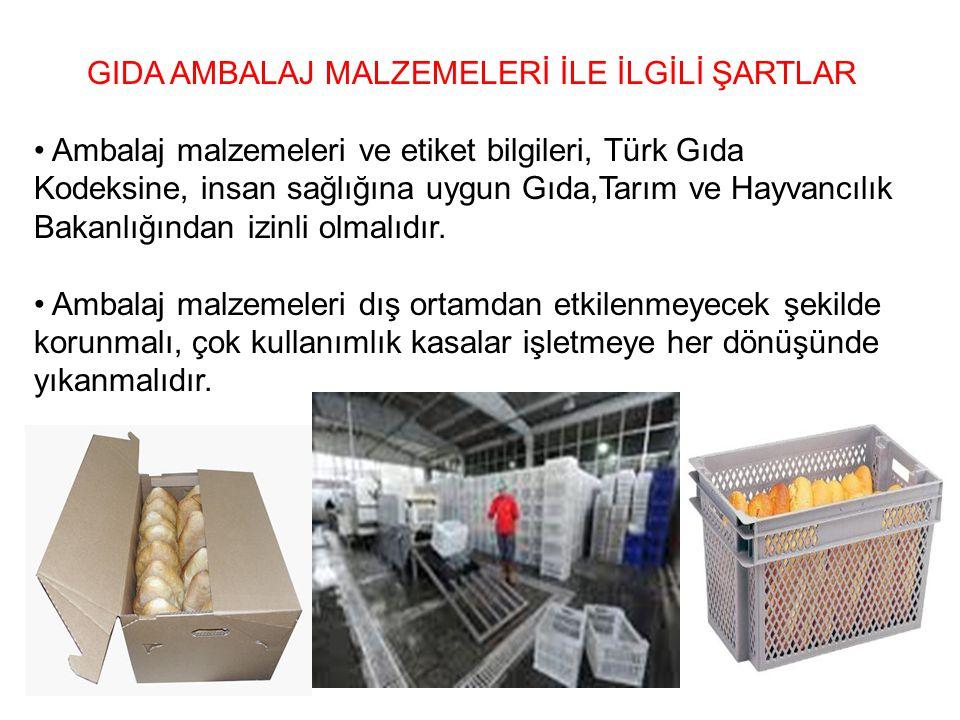 GIDA AMBALAJ MALZEMELERİ İLE İLGİLİ ŞARTLAR Ambalaj malzemeleri ve etiket bilgileri, Türk Gıda Kodeksine, insan sağlığına uygun Gıda,Tarım ve Hayvancı
