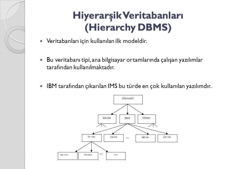 Hiyerarşik Veritabanları (Hierarchy DBMS) Veritabanları için kullanılan ilk modeldir. Bu veritabanı tipi, ana bilgisayar ortamlarında çalışan yazılıml