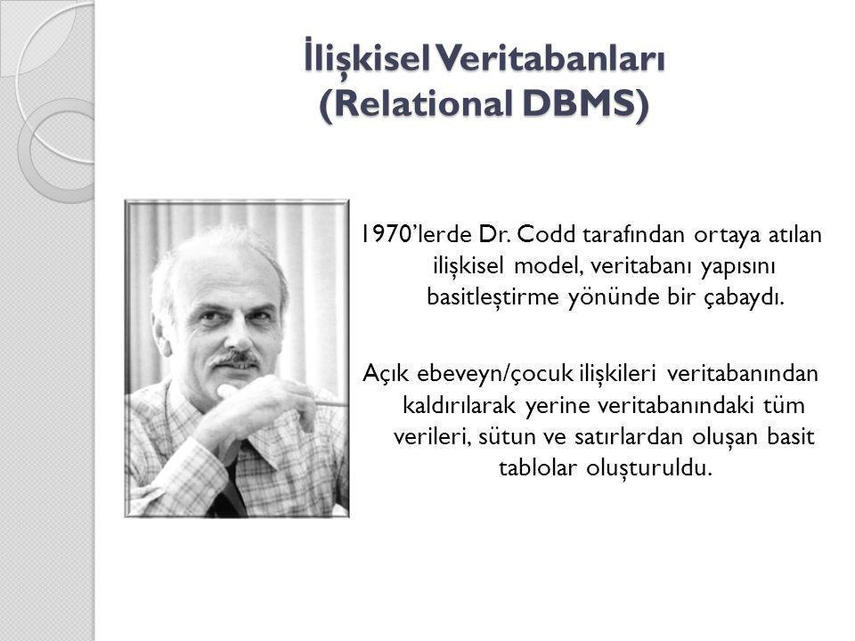 İ lişkisel Veritabanları (Relational DBMS) 1970'lerde Dr. Codd tarafından ortaya atılan ilişkisel model, veritabanı yapısını basitleştirme yönünde bir