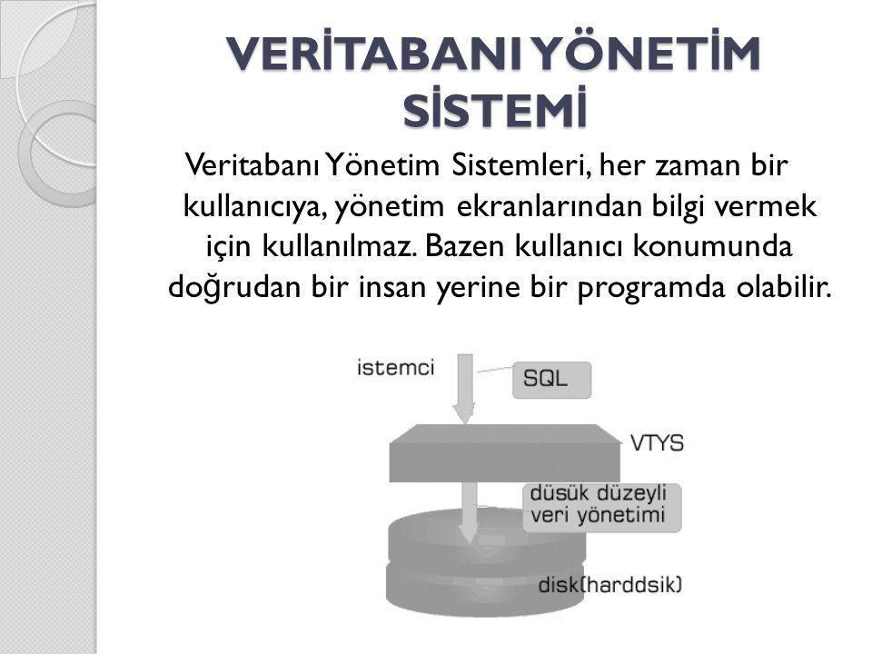 VTYS B İ LEŞENLER İ Erişim (sorgulama) ve veri işleme Genel amaçlı bir sorgu dili (SQL) Genel amaçlı bir güvenlik sistemi Genel amaçlı bir bütünlük sistemi Yedekleme ve di ğ er yardımcı birimler Uygulama geliştirme ortamı Rapor üretici Kavramsal şema (conceptual schema) tanımlama dili: Özgün ya da genel amaçlı olarak geliştirilmiş arabirim Veri sözlü ğ ü (data dictionary) [Veri yapısını gösterir.]
