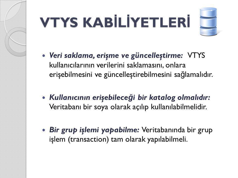 VTYS KAB İ L İ YETLER İ Aynı anda işlem yapabilme: Veritabanı aynı anda bir çok kullanıcı tarafından - özellikle internet ortamında - kullanılabilmelidir.