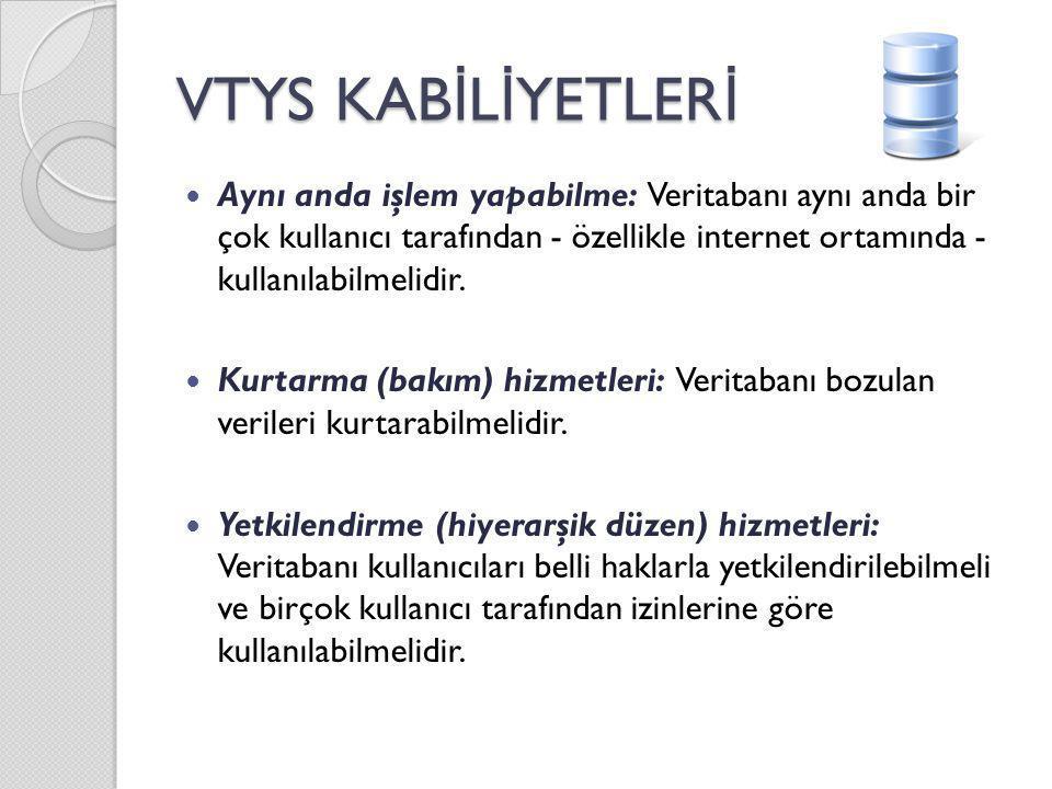 VTYS KAB İ L İ YETLER İ Aynı anda işlem yapabilme: Veritabanı aynı anda bir çok kullanıcı tarafından - özellikle internet ortamında - kullanılabilmeli
