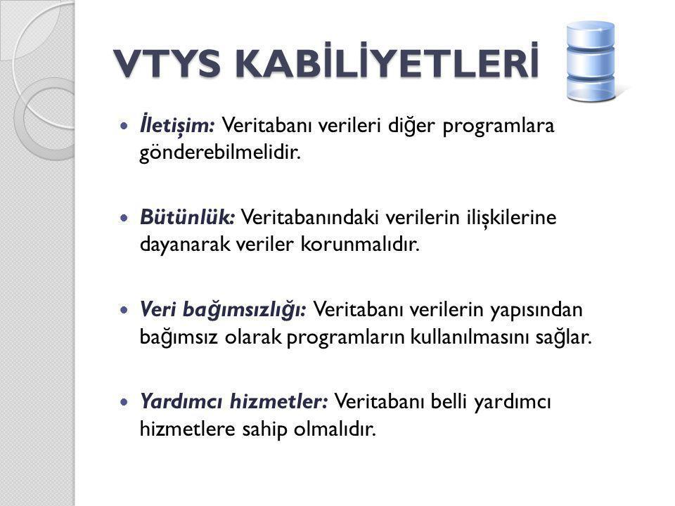 VTYS KAB İ L İ YETLER İ İ letişim: Veritabanı verileri di ğ er programlara gönderebilmelidir. Bütünlük: Veritabanındaki verilerin ilişkilerine dayanar