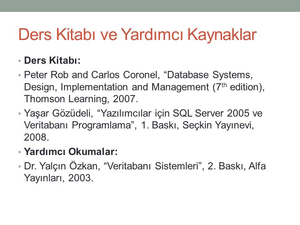"Ders Kitabı ve Yardımcı Kaynaklar Ders Kitabı: Peter Rob and Carlos Coronel, ""Database Systems, Design, Implementation and Management (7 th edition),"