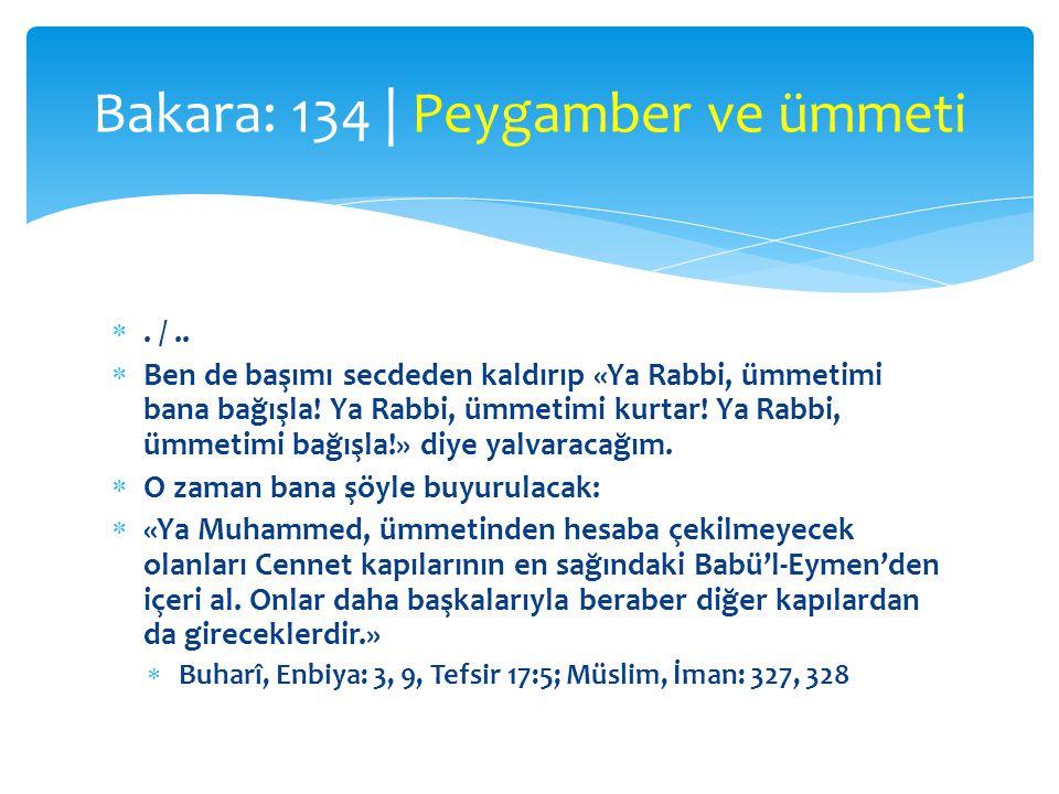 . /..  Ben de başımı secdeden kaldırıp «Ya Rabbi, ümmetimi bana bağışla! Ya Rabbi, ümmetimi kurtar! Ya Rabbi, ümmetimi bağışla!» diye yalvaracağım.