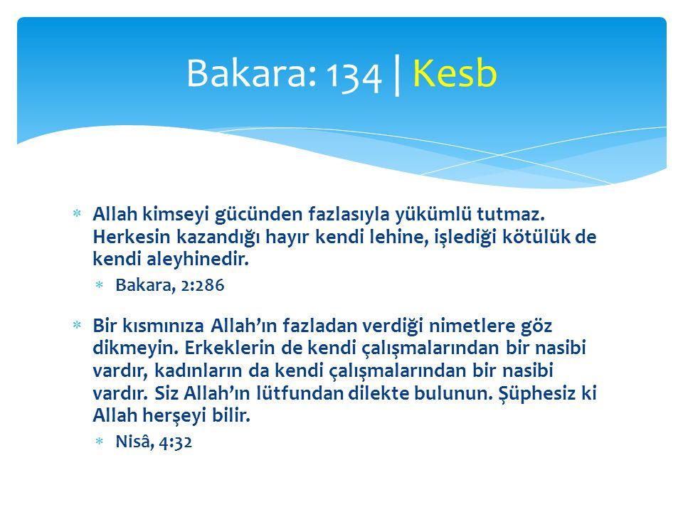  Allah kimseyi gücünden fazlasıyla yükümlü tutmaz. Herkesin kazandığı hayır kendi lehine, işlediği kötülük de kendi aleyhinedir.  Bakara, 2:286  Bi