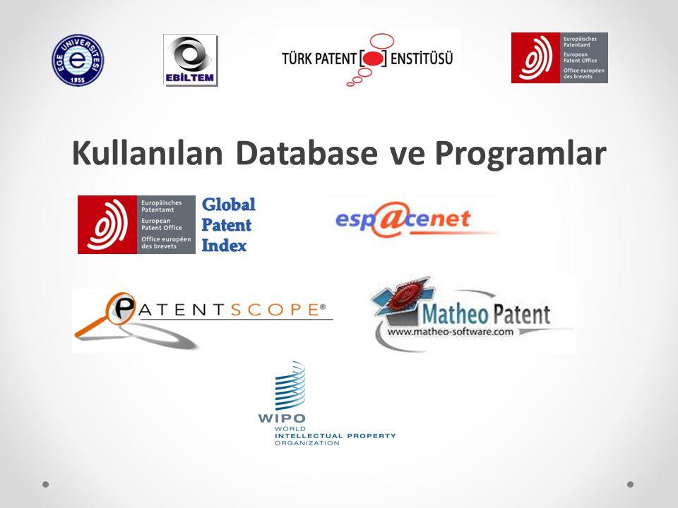 Kullanılan Database ve Programlar