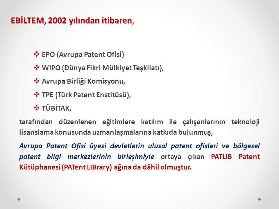  EPO (Avrupa Patent Ofisi)  WIPO (Dünya Fikri Mülkiyet Teşkilatı),  Avrupa Birliği Komisyonu,  TPE (Türk Patent Enstitüsü),  TÜBİTAK, tarafından