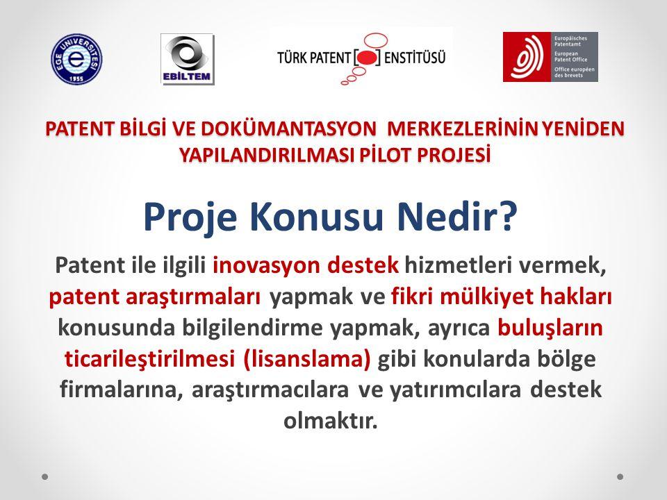 Proje Konusu Nedir? Patent ile ilgili inovasyon destek hizmetleri vermek, patent araştırmaları yapmak ve fikri mülkiyet hakları konusunda bilgilendirm