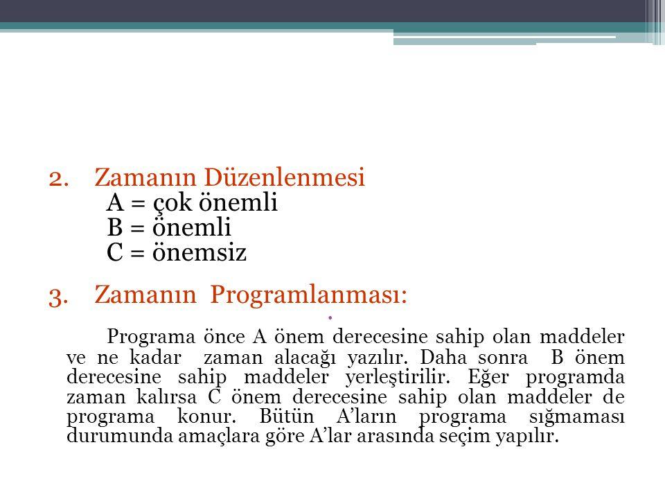 2. Zamanın Düzenlenmesi A = çok önemli B = önemli C = önemsiz 3. Zamanın Programlanması: Programa önce A önem derecesine sahip olan maddeler ve ne kad