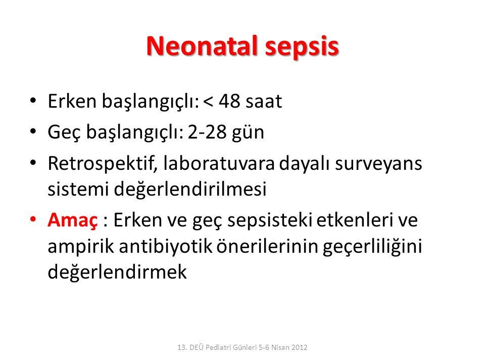 Neonatal sepsis Erken başlangıçlı: < 48 saat Geç başlangıçlı: 2-28 gün Retrospektif, laboratuvara dayalı surveyans sistemi değerlendirilmesi Amaç : Erken ve geç sepsisteki etkenleri ve ampirik antibiyotik önerilerinin geçerliliğini değerlendirmek 13.