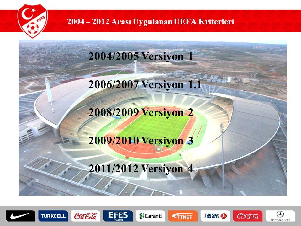 2004 – 2012 Arası Uygulanan UEFA Kriterleri 2004/2005 Versiyon 1 2006/2007 Versiyon 1.1 2008/2009 Versiyon 2 2009/2010 Versiyon 3 2011/2012 Versiyon 4
