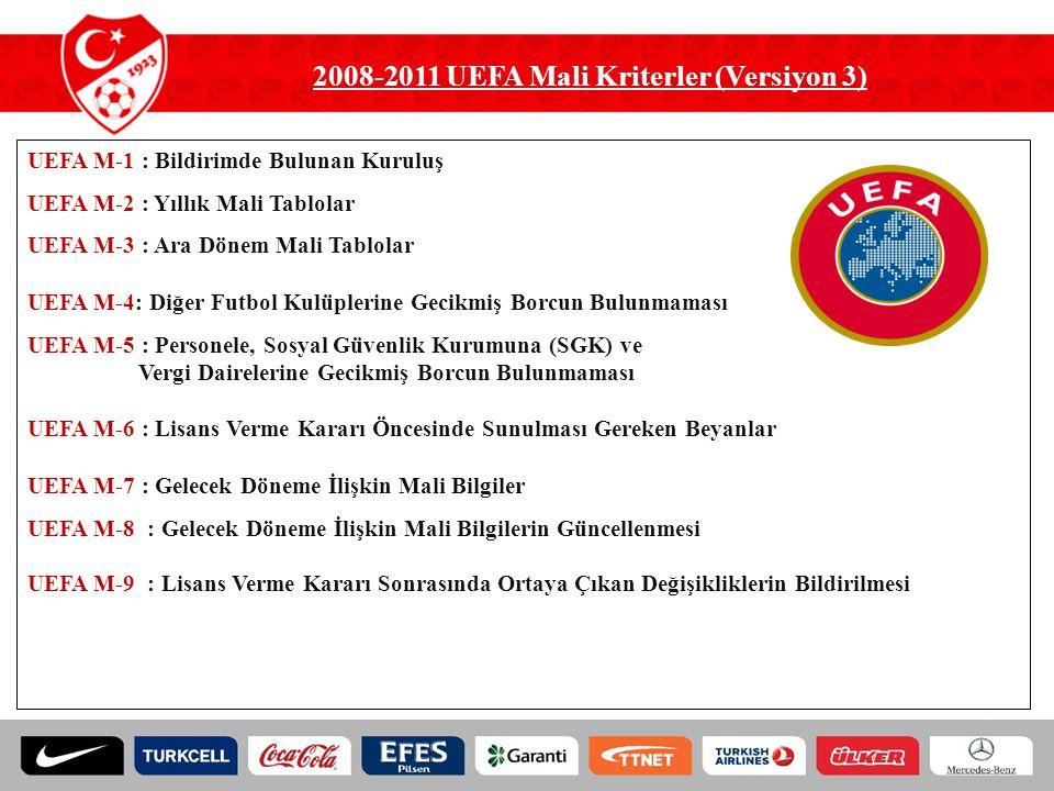 UEFA M-1 : Bildirimde Bulunan Kuruluş UEFA M-2 : Yıllık Mali Tablolar UEFA M-3 : Ara Dönem Mali Tablolar UEFA M-4: Diğer Futbol Kulüplerine Gecikmiş B