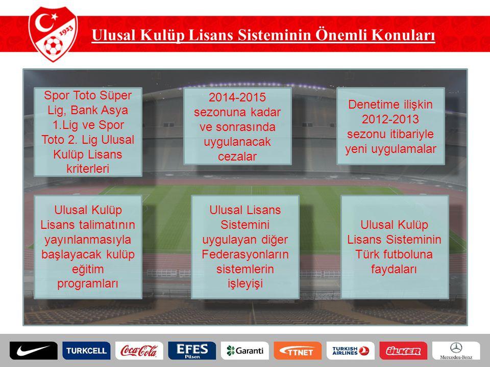 Ulusal Kulüp Lisans Sisteminin Önemli Konuları Spor Toto Süper Lig, Bank Asya 1.Lig ve Spor Toto 2. Lig Ulusal Kulüp Lisans kriterleri 2014-2015 sezon