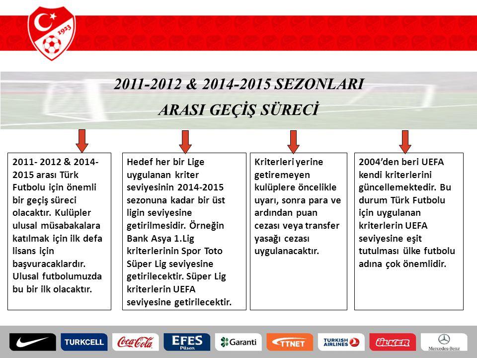 2011-2012 & 2014-2015 SEZONLARI ARASI GEÇİŞ SÜRECİ 2011- 2012 & 2014- 2015 arası Türk Futbolu için önemli bir geçiş süreci olacaktır. Kulüpler ulusal