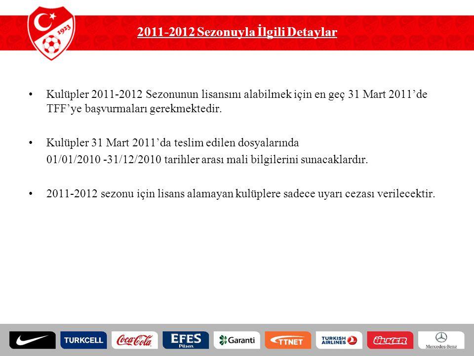 2011-2012 Sezonuyla İlgili Detaylar Kulüpler 2011-2012 Sezonunun lisansını alabilmek için en geç 31 Mart 2011'de TFF'ye başvurmaları gerekmektedir. Ku
