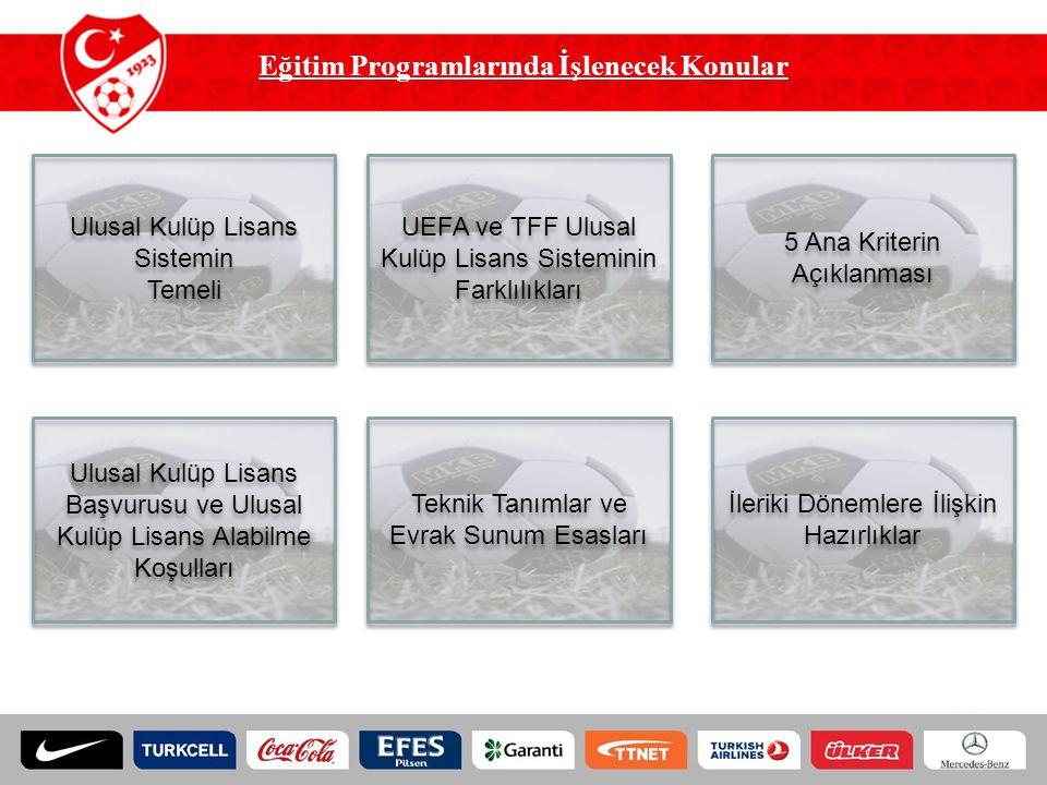 Eğitim Programlarında İşlenecek Konular Ulusal Kulüp Lisans Sistemin Temeli Ulusal Kulüp Lisans Sistemin Temeli UEFA ve TFF Ulusal Kulüp Lisans Sistem