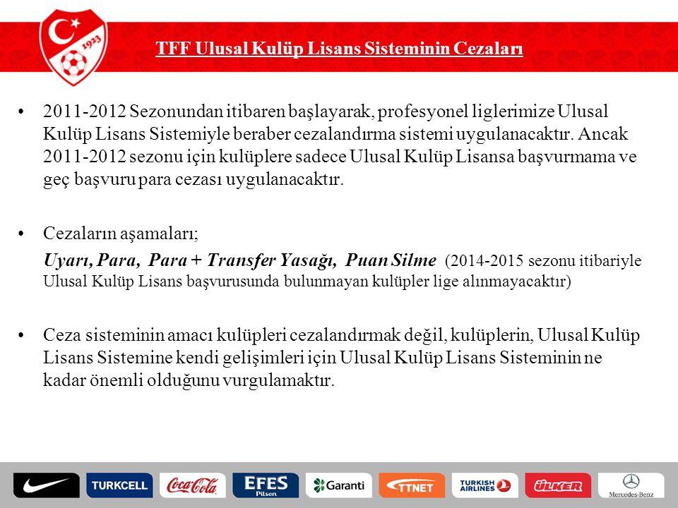 TFF Ulusal Kulüp Lisans Sisteminin Cezaları 2011-2012 Sezonundan itibaren başlayarak, profesyonel liglerimize Ulusal Kulüp Lisans Sistemiyle beraber c