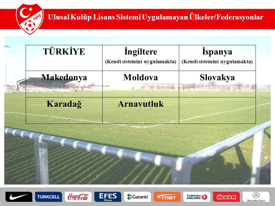 TÜRKİYE İngiltere (Kendi sistemini uygulamakta) İspanya (Kendi sistemini uygulamakta) MakedonyaMoldovaSlovakya KaradağArnavutluk Ulusal Kulüp Lisans S