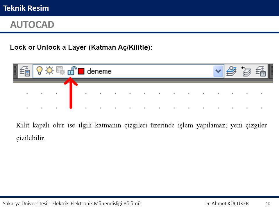 Teknik Resim AUTOCAD Dr. Ahmet KÜÇÜKER Sakarya Üniversitesi - Elektrik-Elektronik Mühendisliği Bölümü 10 Aynalama işleminden önce seçili geometrinin s