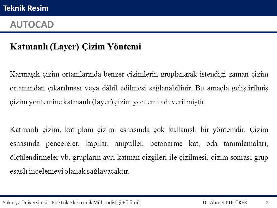 Teknik Resim AUTOCAD Dr. Ahmet KÜÇÜKER Sakarya Üniversitesi - Elektrik-Elektronik Mühendisliği Bölümü 2 Aynalama işleminden önce seçili geometrinin si