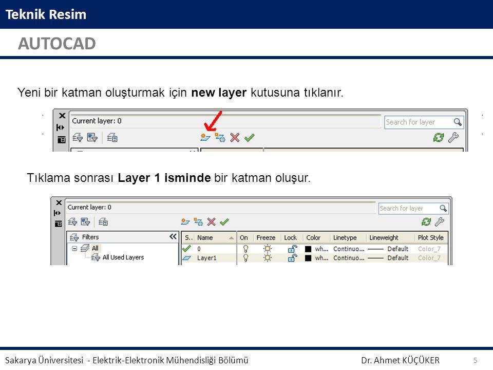 Teknik Resim AUTOCAD Dr. Ahmet KÜÇÜKER Sakarya Üniversitesi - Elektrik-Elektronik Mühendisliği Bölümü 5 Aynalama işleminden önce seçili geometrinin si