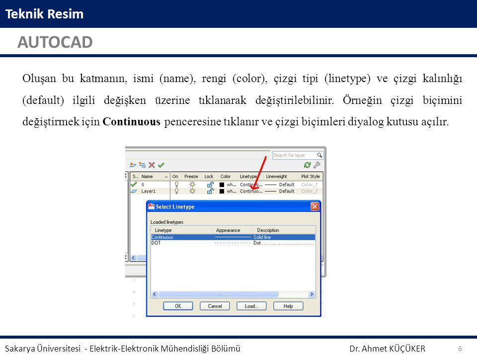 Teknik Resim AUTOCAD Dr. Ahmet KÜÇÜKER Sakarya Üniversitesi - Elektrik-Elektronik Mühendisliği Bölümü 6 Aynalama işleminden önce seçili geometrinin si