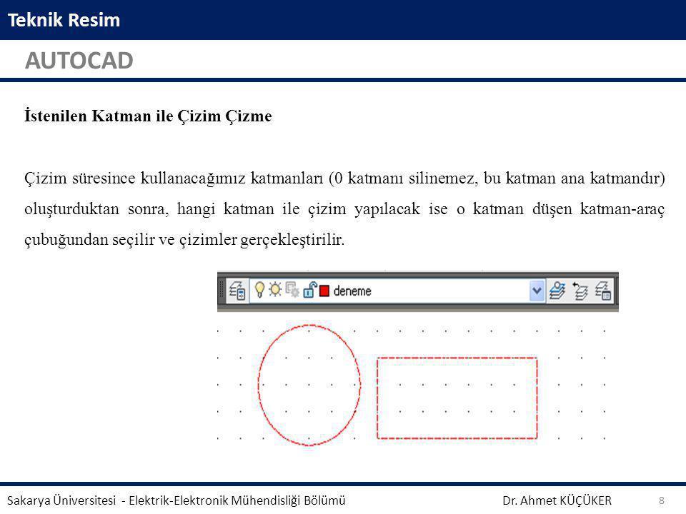 Teknik Resim AUTOCAD Dr. Ahmet KÜÇÜKER Sakarya Üniversitesi - Elektrik-Elektronik Mühendisliği Bölümü 8 Aynalama işleminden önce seçili geometrinin si