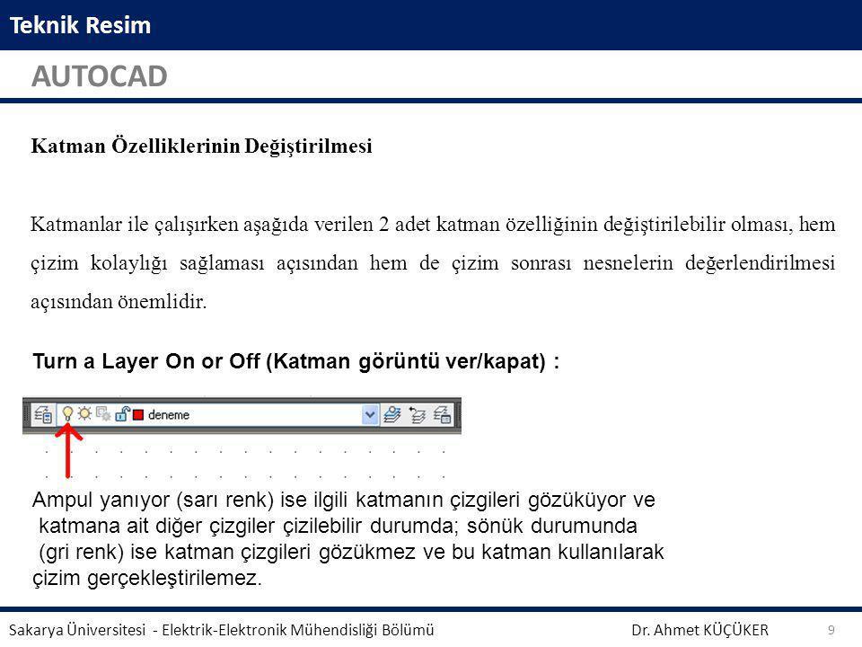 Teknik Resim AUTOCAD Dr. Ahmet KÜÇÜKER Sakarya Üniversitesi - Elektrik-Elektronik Mühendisliği Bölümü 9 Aynalama işleminden önce seçili geometrinin si