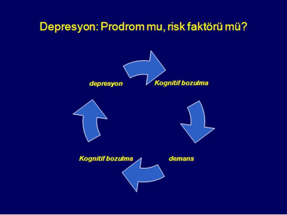 Cognitive decline dementia Cognitive decline depression Depresyon: Prodrom mu risk faktörü mü?