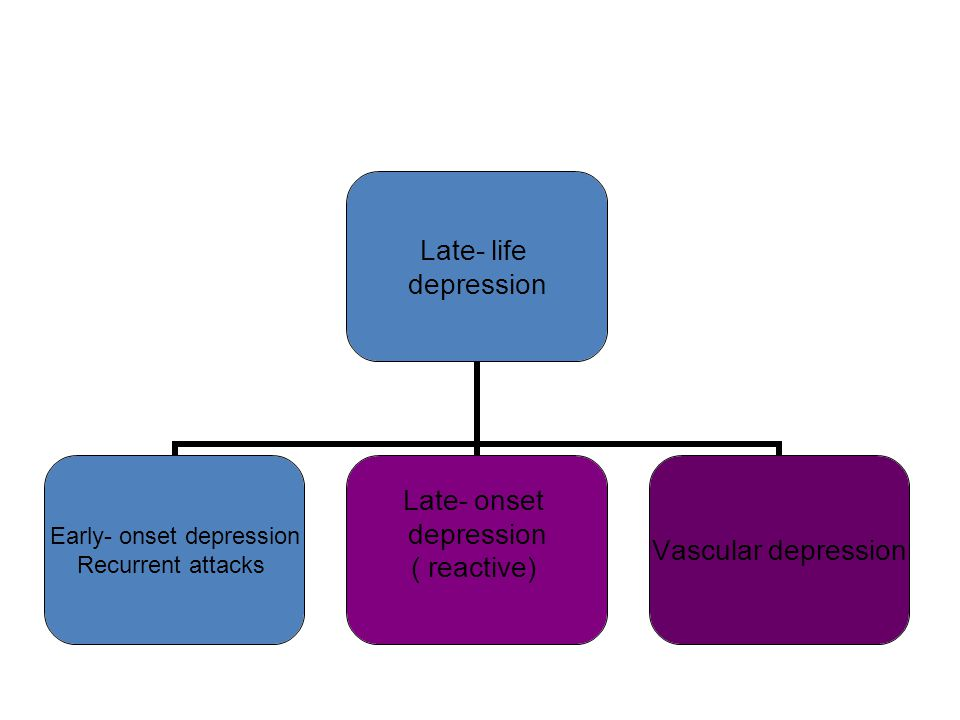 Late- life depression Early- onset depression Recurrent attacks Late- onset depression ( reactive) Vascular depression