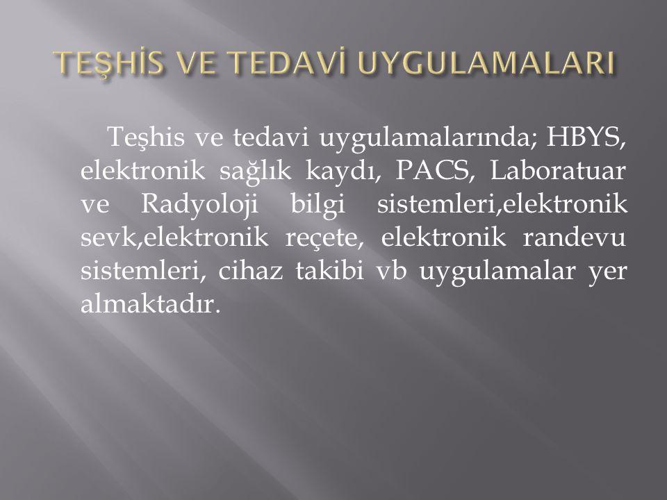 Teşhis ve tedavi uygulamalarında; HBYS, elektronik sağlık kaydı, PACS, Laboratuar ve Radyoloji bilgi sistemleri,elektronik sevk,elektronik reçete, ele