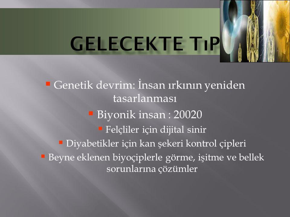  Genetik devrim: İnsan ırkının yeniden tasarlanması  Biyonik insan : 20020  Felçliler için dijital sinir  Diyabetikler için kan şekeri kontrol çip