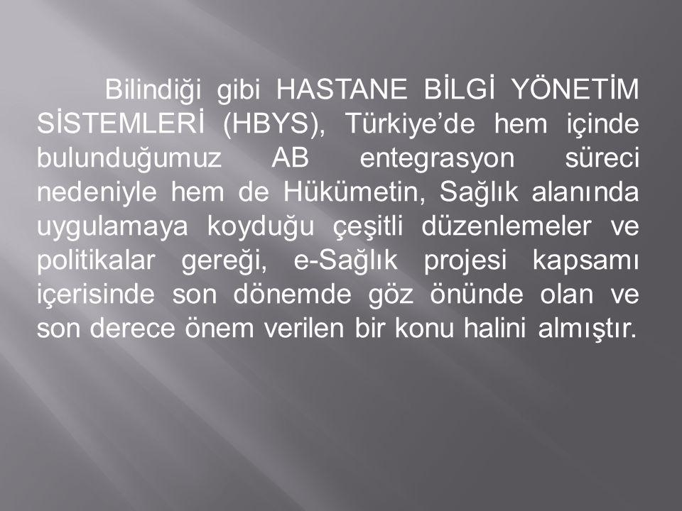 Bilindiği gibi HASTANE BİLGİ YÖNETİM SİSTEMLERİ (HBYS), Türkiye'de hem içinde bulunduğumuz AB entegrasyon süreci nedeniyle hem de Hükümetin, Sağlık al