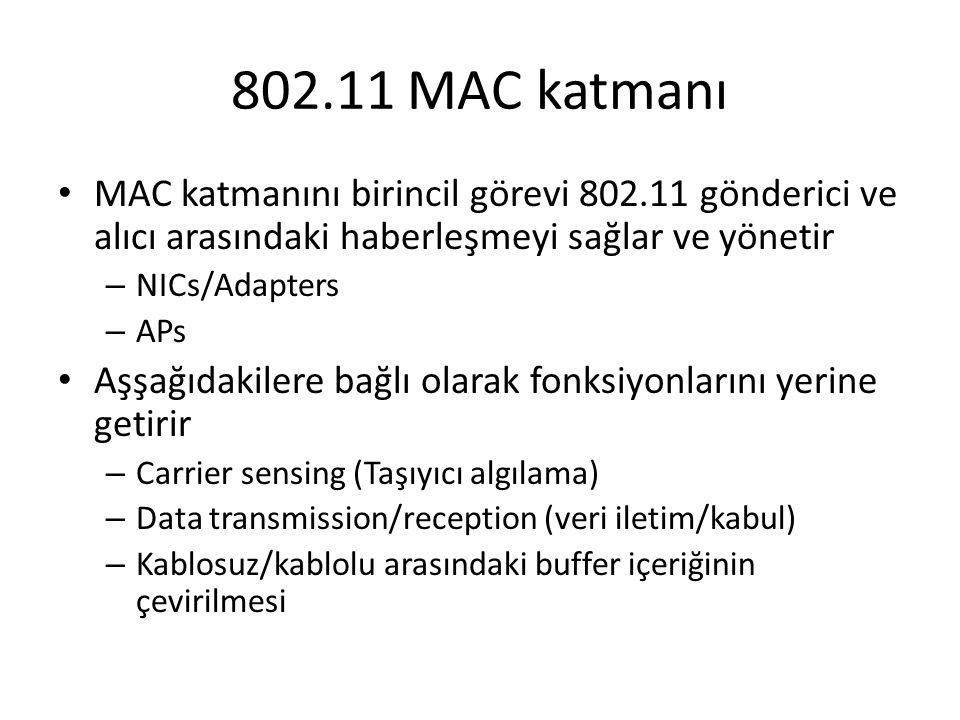 802.11 MAC katmanı MAC katmanını birincil görevi 802.11 gönderici ve alıcı arasındaki haberleşmeyi sağlar ve yönetir – NICs/Adapters – APs Aşşağıdakil