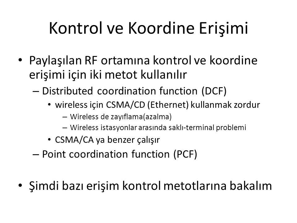 Kontrol ve Koordine Erişimi Paylaşılan RF ortamına kontrol ve koordine erişimi için iki metot kullanılır – Distributed coordination function (DCF) wir