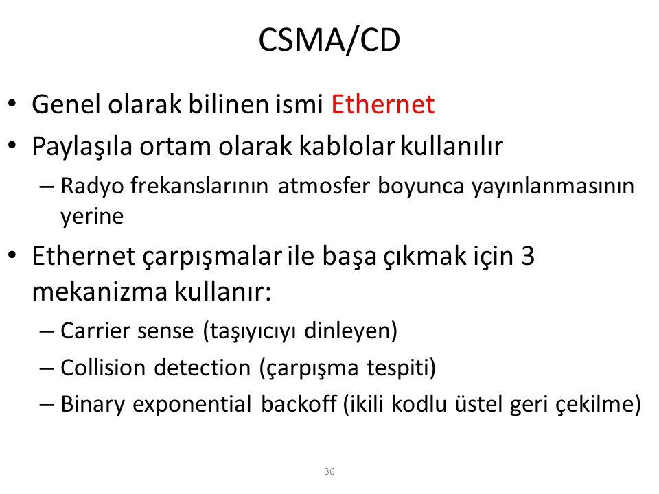 36 CSMA/CD Genel olarak bilinen ismi Ethernet Paylaşıla ortam olarak kablolar kullanılır – Radyo frekanslarının atmosfer boyunca yayınlanmasının yerin